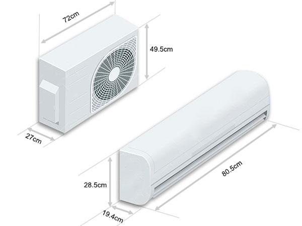 Kích thước của dàn lạnh và dàn nóng