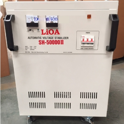 Ổn áp 1 pha Lioa 50KVA SH 50000 có kiểu dáng công nghiệp với màu nâu sang trọng