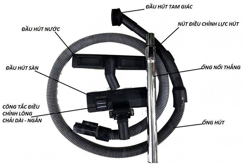 Các phụ kiện của máy hút bụi công nghiệp