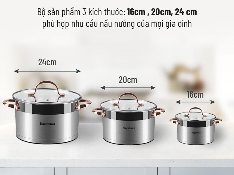 Bộ 3 nồi inox cao cấp 5 đáy Nagakawa NAG1352 (16cm, 20cm, 24cm) dùng cho mọi loại bếp