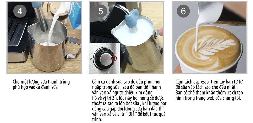 Các bước Pha cà phê Cappuccino