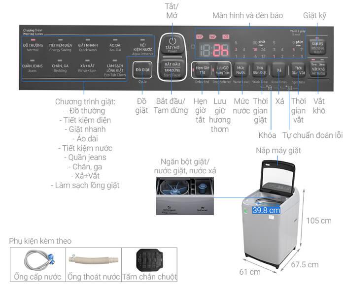 Máy giặt Samsung WA90T5260BY/SV