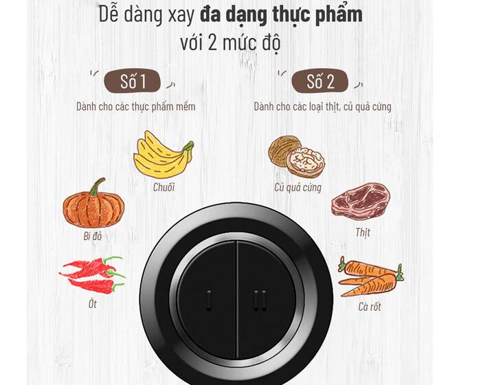 Hai mức xay dành cho các thực phẩm khác nhau