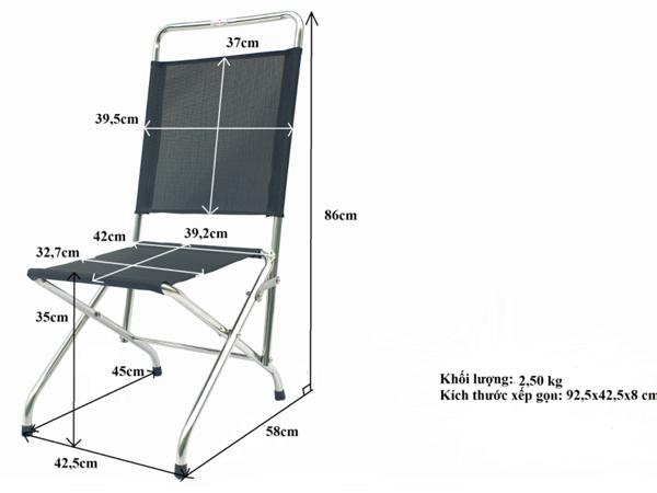 Kích thước của ghế xếp Ban Mai
