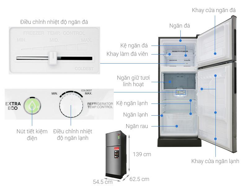 Cấu tạo và kích thước của tủ lạnh Sharp