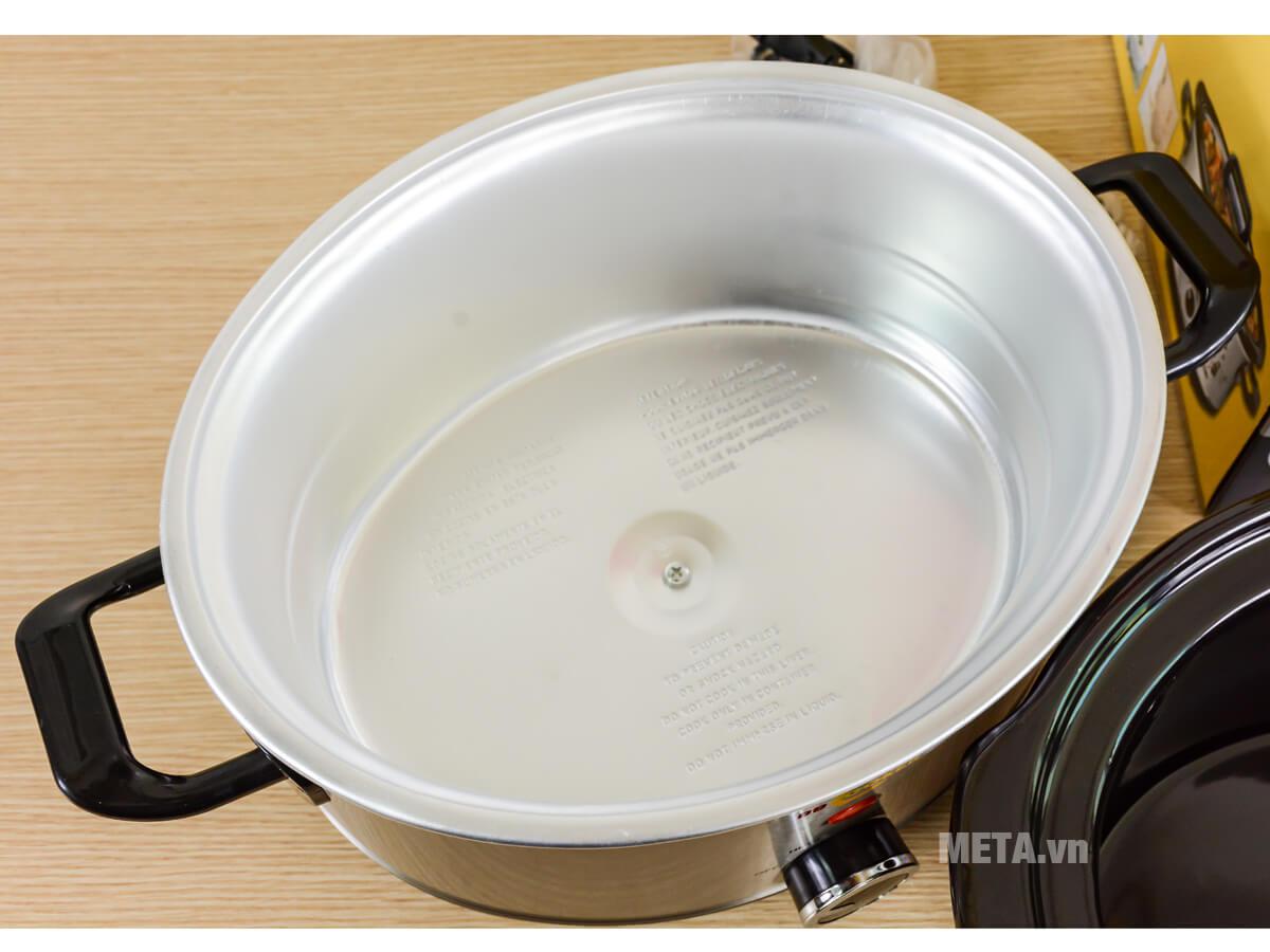 Nồi nấu cháo đa năng Hàn Quốc BBCooker 3.5 lít có nồi ngoài bằng thép không gỉ.