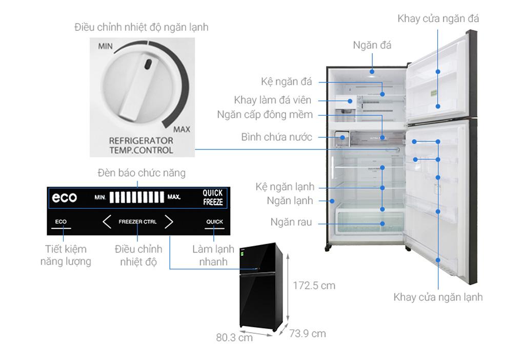 Cấu tạo của tủ lạnh Toshiba