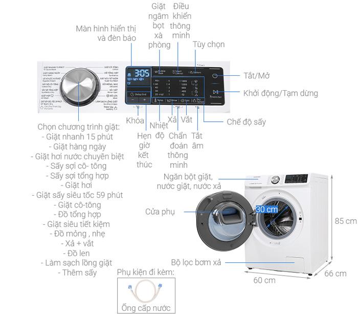 Máy giặt sấy Samsung WD10N64FR2W/SV