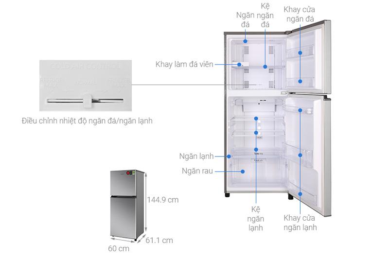 Cấu tạo và kích thước của tủ lạnh