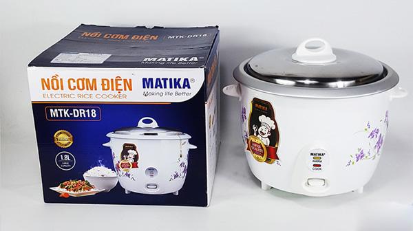Nồi cơm điện Matikia có hộp đựng kín, sạch sẽ