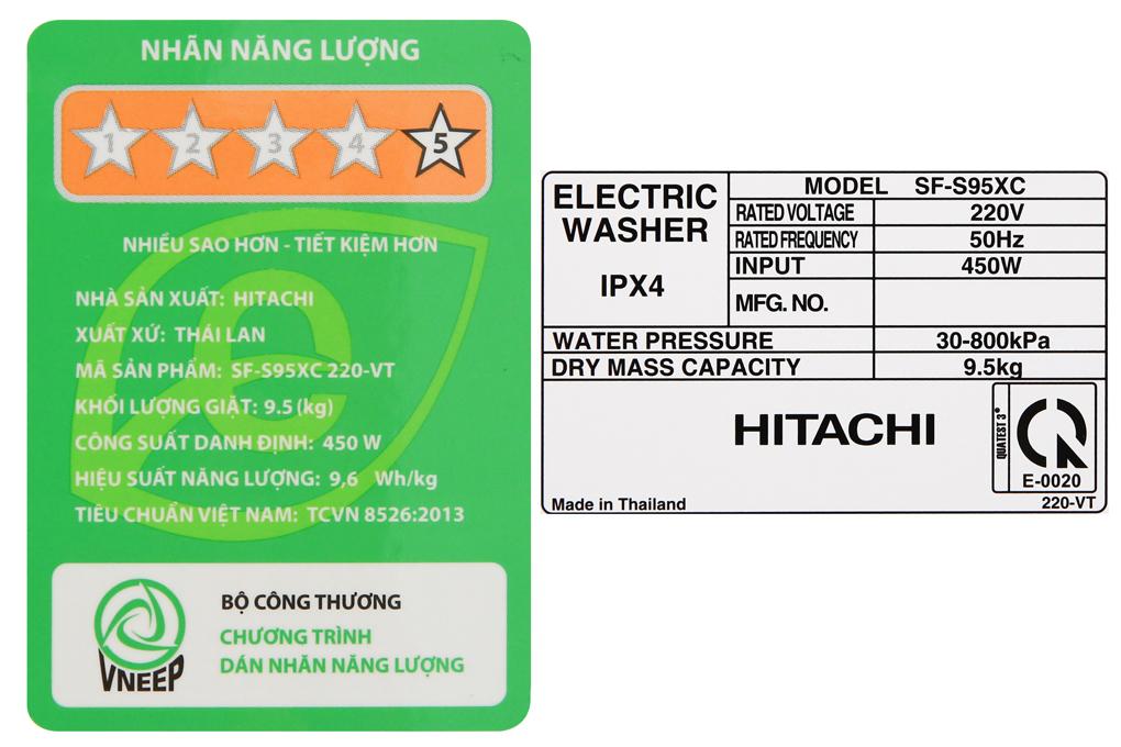 Thông số kỹ thuật của máy giặt Hitachi