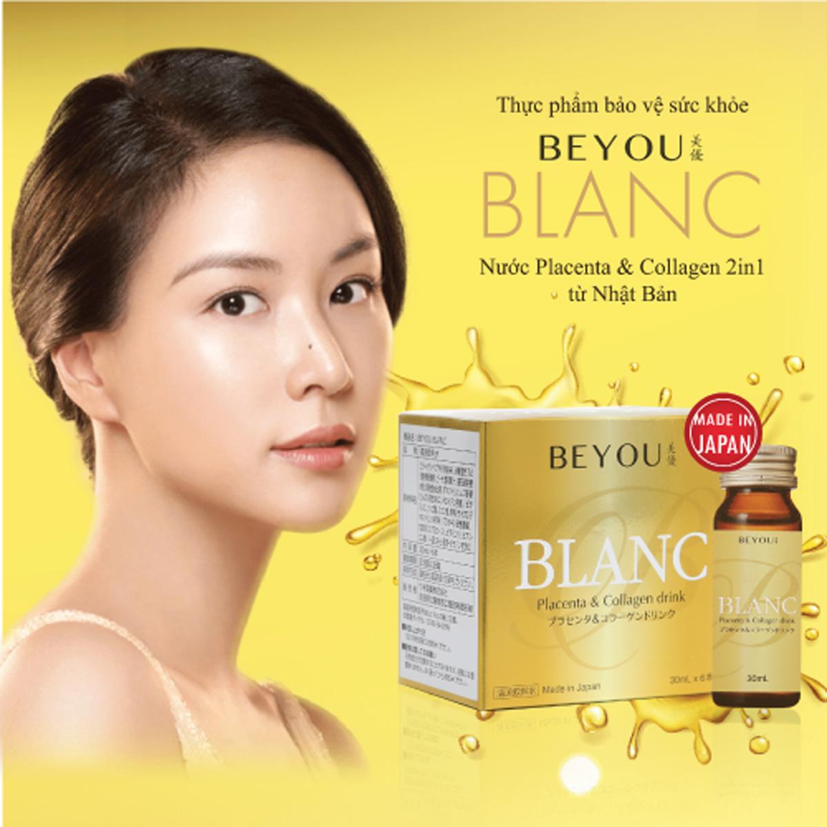 Beyou Blanc có sự kết hợp 2 in 1 giữa tinh chất placenta và collagen mang lại làn da tươi tắn