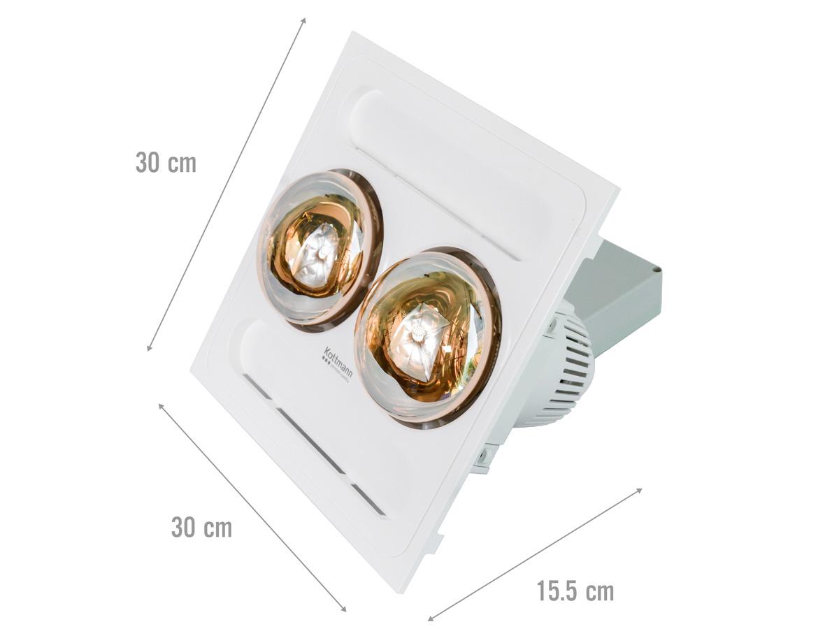 Kích thước của đèn sưởi nhà tắm