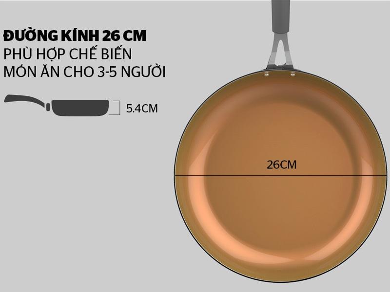 Đường kính chảo lên đến 26cm