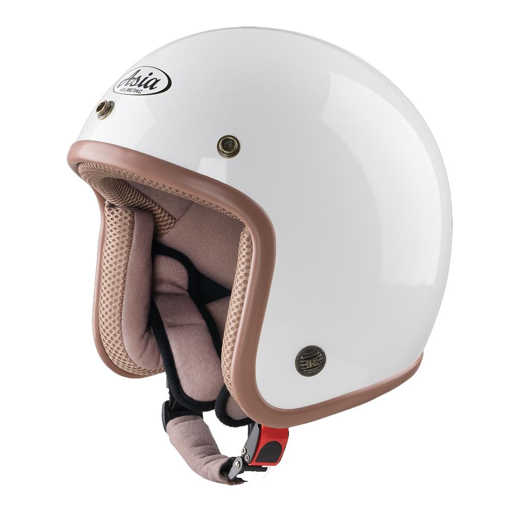 Mũ bảo hiểm trắng viền nâu