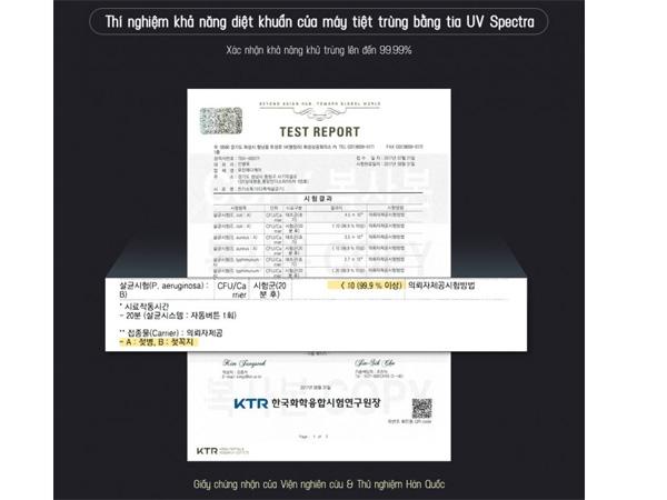 Đạt chứng nhận của Hàn Quốc về khả năng tiệt trùng an toàn