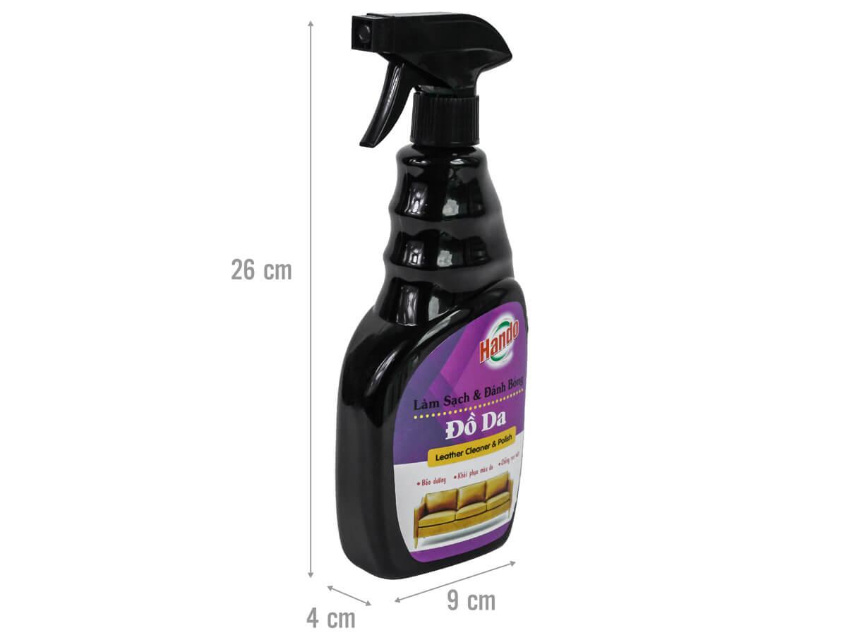 Kích thước chai xịt vệ sinh đồ da Hando