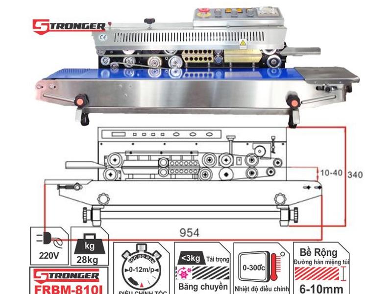 Thông số kỹ thuật của máy hàn miệng túi in date Stronger FRBM-810I