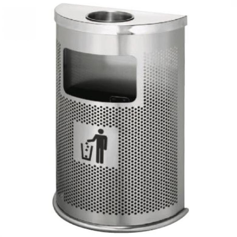 Hình ảnh thùng rác inox bán nguyệt GEV A55