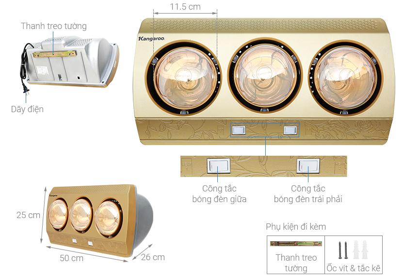 Cấu tạo và kích thước của đèn sưởi nhà tắm