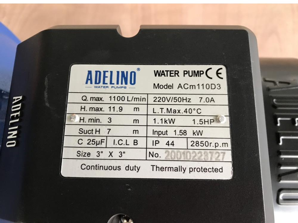 Thông số kỹ thuật của máy bơm ly tâm ACm110D3