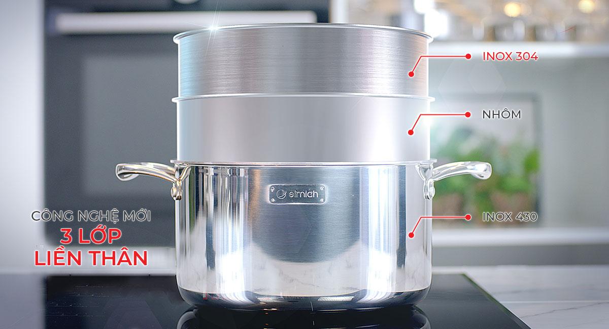 Thiết kế 3 lớp liền thân giúp nấu chín thức ăn nhanh hơn