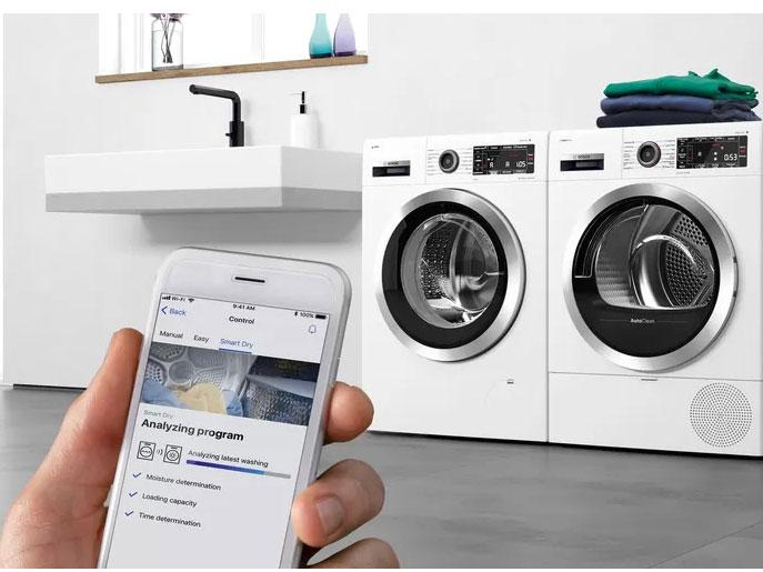 Công nghệ SmartDry và Home connect liên kết với máy sấy
