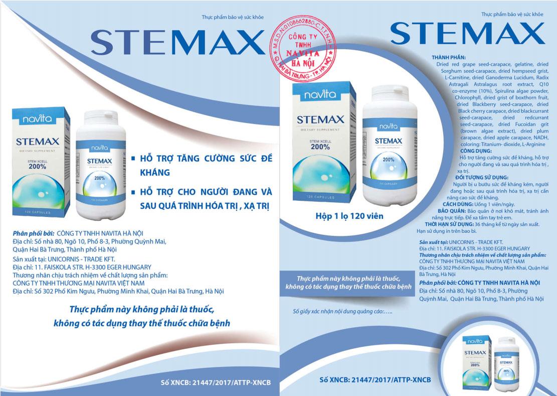 Giấy phép quảng cáo Stemax