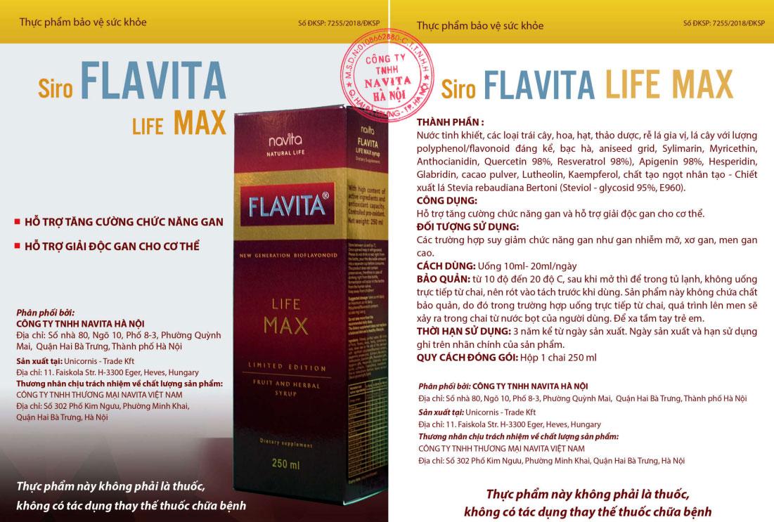 thực phẩm chức năng Siro Flavita Life Max