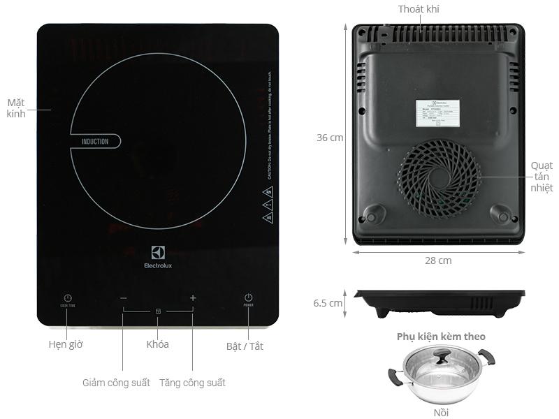Cấu tạo của bếp từ điện Electrolux EDT29KC.