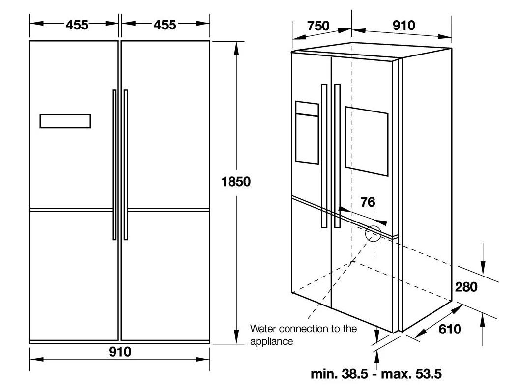 Kích thước tủ lạnh Hafele side by side HF-SBSIC (539.16.230)