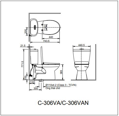 Bản vẽ bồn cầu C-306VA/BW1