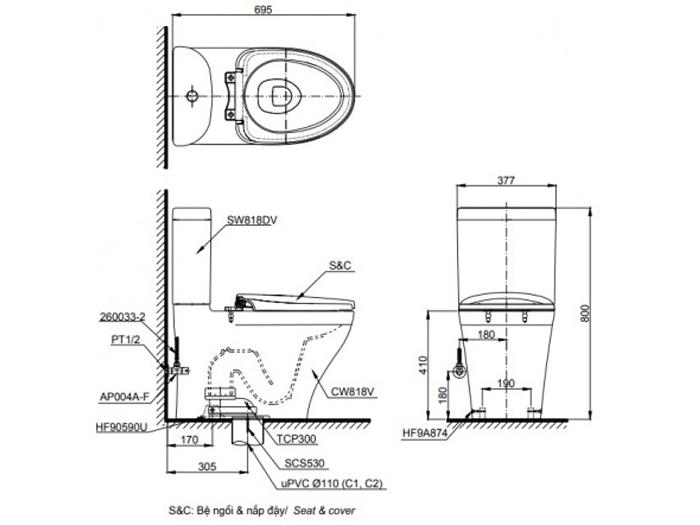 Bản vẽ kỹ thuật xí bệt Toto CS818DT8