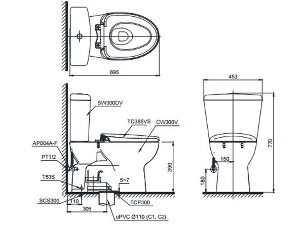 Bản vẽ kỹ thuật bồn cầu CS300DRT3