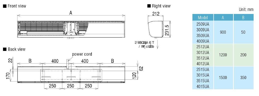 Kích thước lắp đặt quạt cắt gió KDK