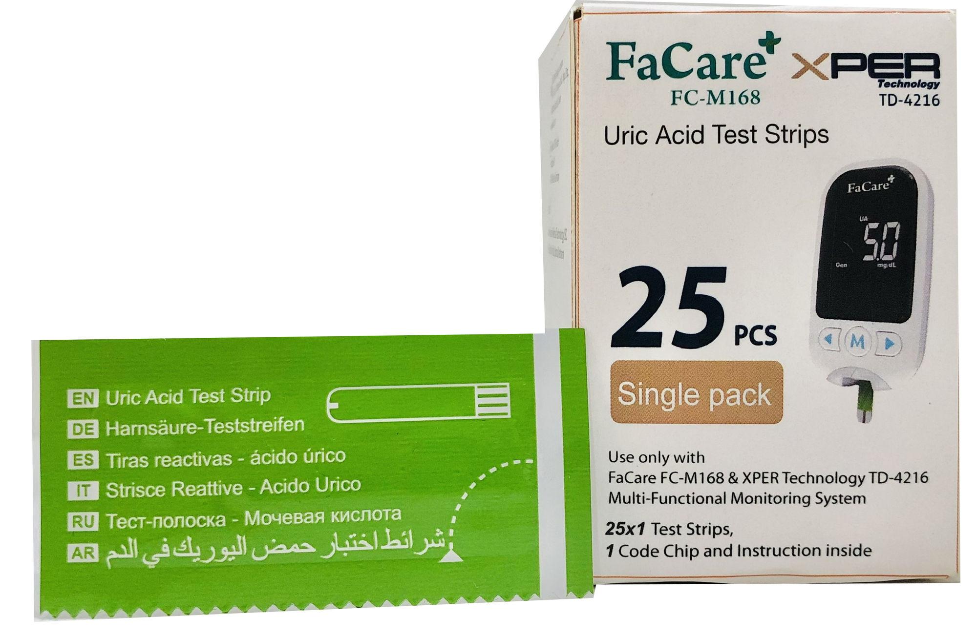 Hộp 25 que thử Axit Uric (Gout) và 25 kim lấy máu FC-M168