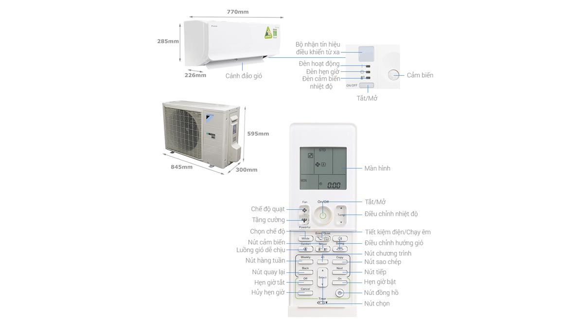 Máy lạnh DAIKIN Inverter 1.0HP FTKM25SVMV/RKM25SVMV
