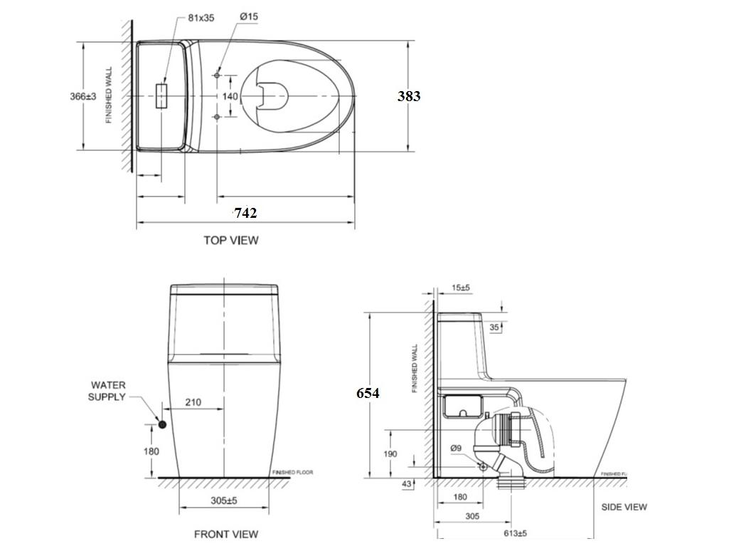 Bản vẽ kỹ thuật bồn cầu VF-1808E