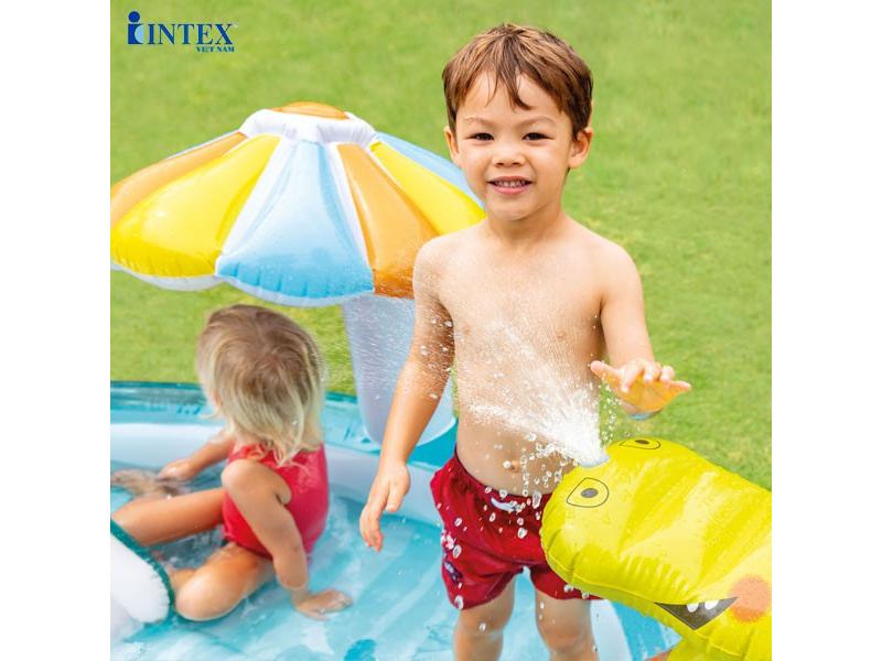 Bể bơi phao cầu trượt có phun nước