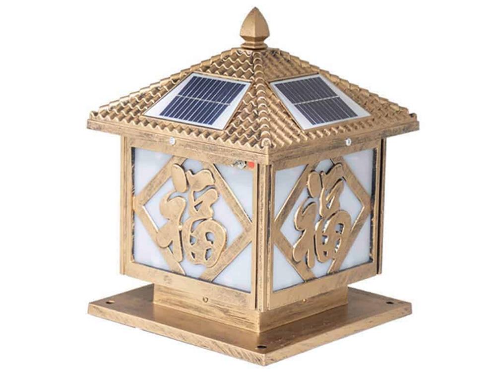 Đèn sân vườn trụ cổng năng lượng mặt trời chữ Phúc Sumosolar TC12