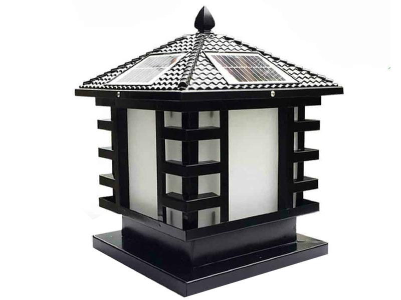 Đèn Trụ cổng sân vườn họa tiết 4 góc năng lượng mặt trời – TC13