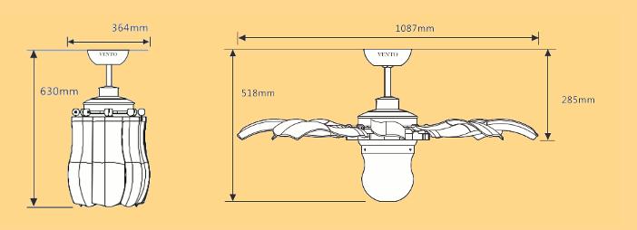 Kích thước của quạt trần Mr Vũ
