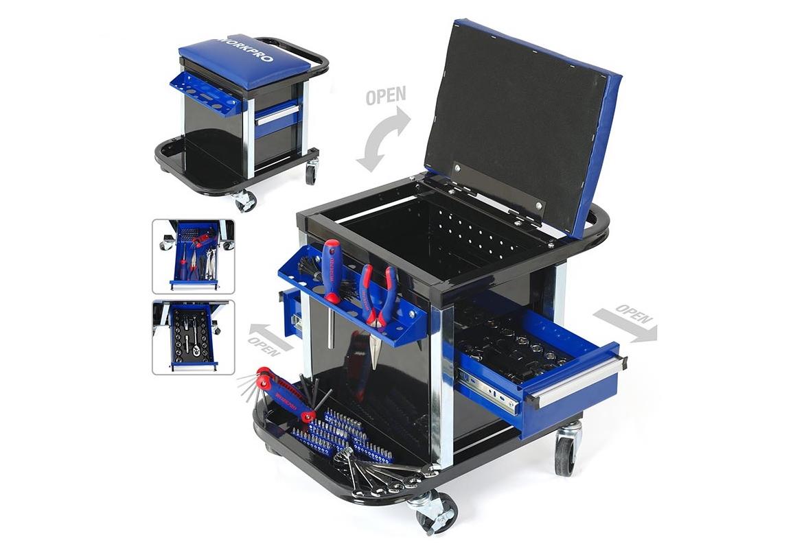 Xe đẩy dụng cụ có ghế Workpro W009039