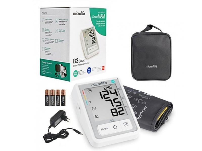 Bộ sản phẩm máy đo huyết áp bắp tay tự động Microlife B3 Basic