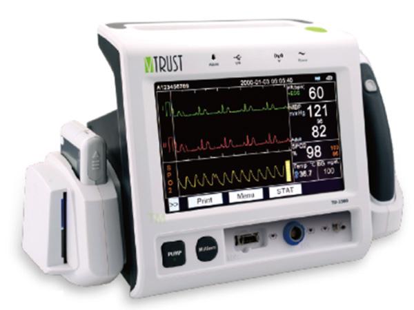 Hình ảnh  máy theo dõi 5 thông số huyết áp, SPO2, nhiệt độ, đường huyết, ECG TD-2300