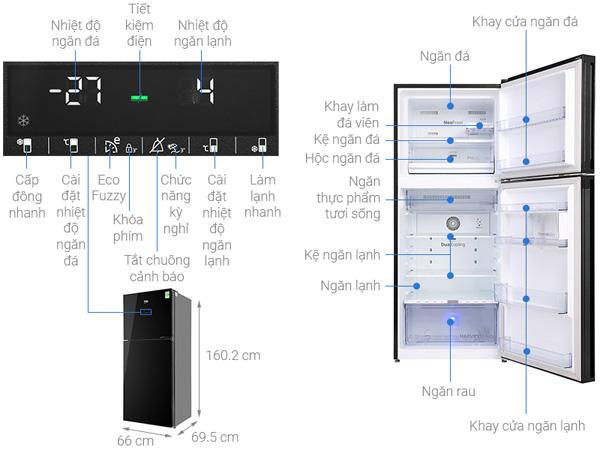 Tủ lạnh 2 cánh Beko inverter 340 lít RDNT371E50VZGB