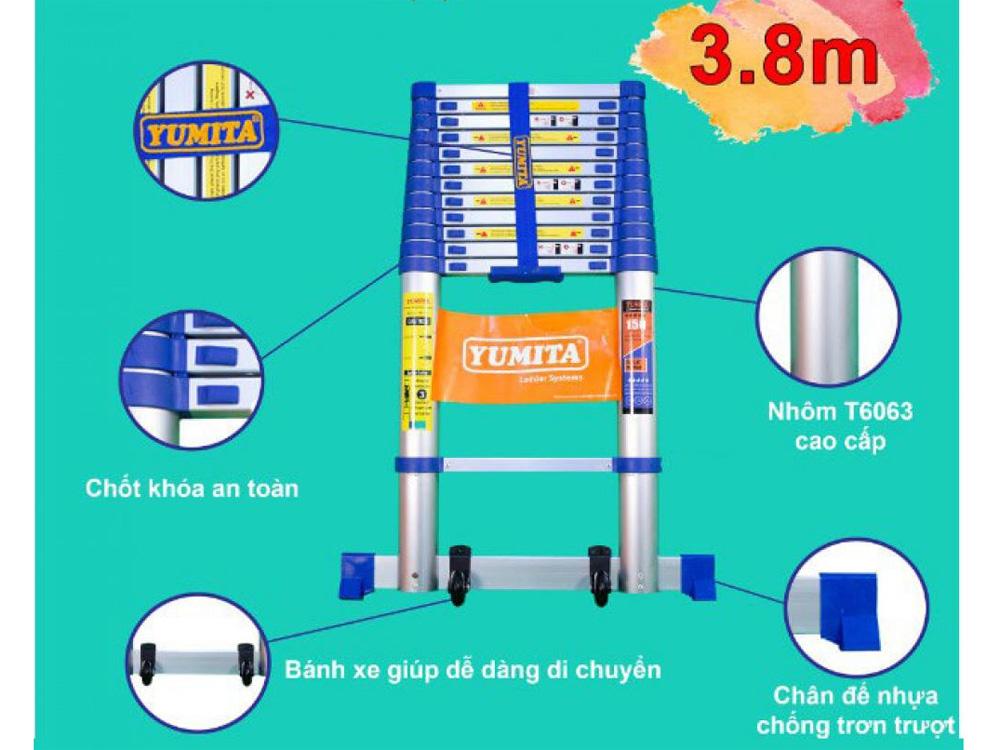 Đặc điểm của thang nhôm rút đơn 3.8m Yumita YMT-138