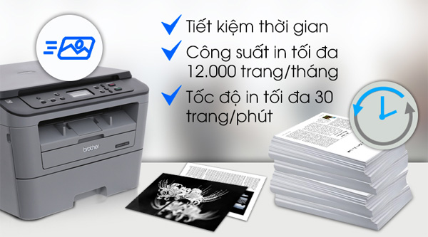 Máy in Brother DCP-L2520D in khổ giấy A4, Letter, Legal, A5