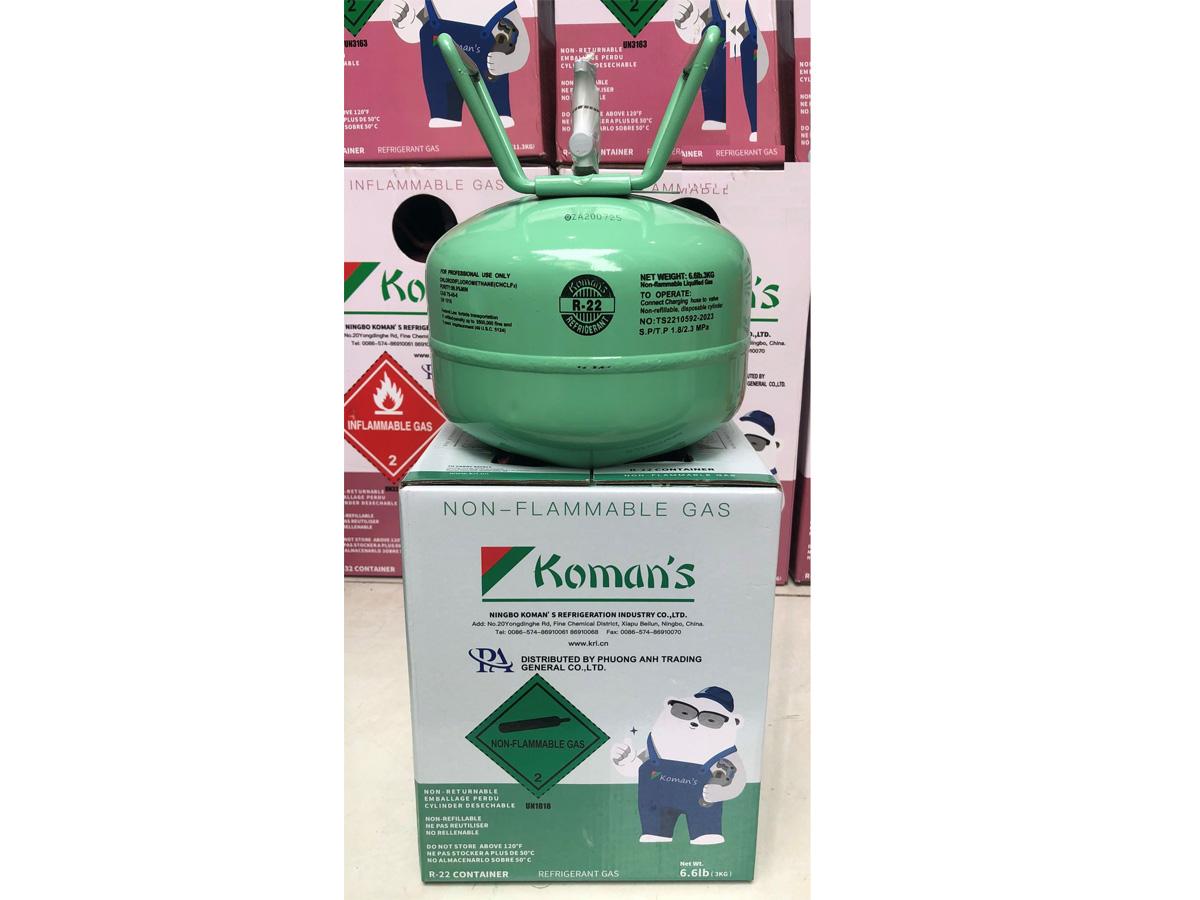 Hình ảnh gas lạnh Koman's R22 (bình 3kg)