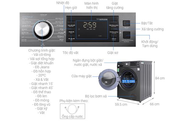 Máy giặt lồng ngang inverter Casper 12.5 kg